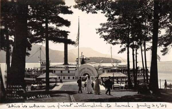 Lake George New York Steamer Horicon at Hotel Sagamore Real Photo PC AA4783