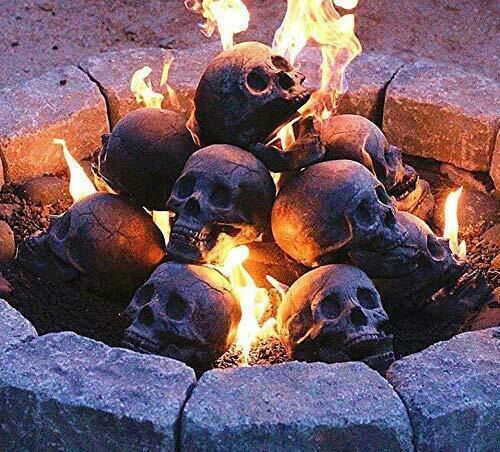 Regal Flame Human Skull Ceramic Wood Large Gas Fireplace Logs Logs for All Ty...