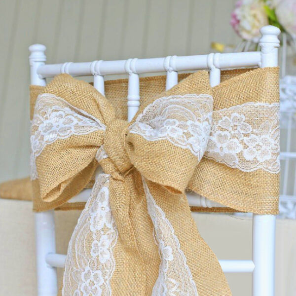 5 30Pc Burlap Lace Chair Sashes Hessian Jute Chair Cover Bows Rustic for Wedding