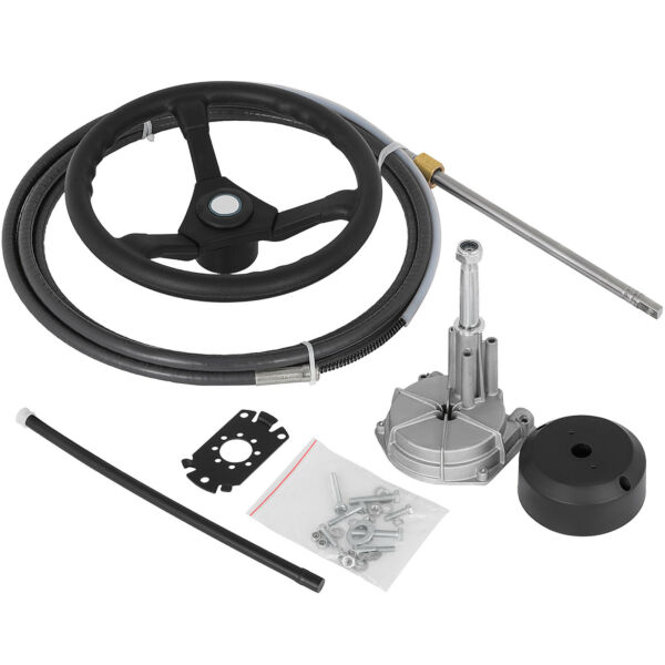 Marine Engine Turbine Rotary Steering System 15#x27; SS13715 Boat Cable With Wheel $147.97