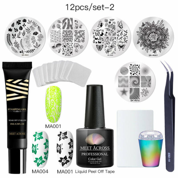 5-21Pcsset Nail Art Stamping Plate Stamper Scraper Template Image Manicure Tool