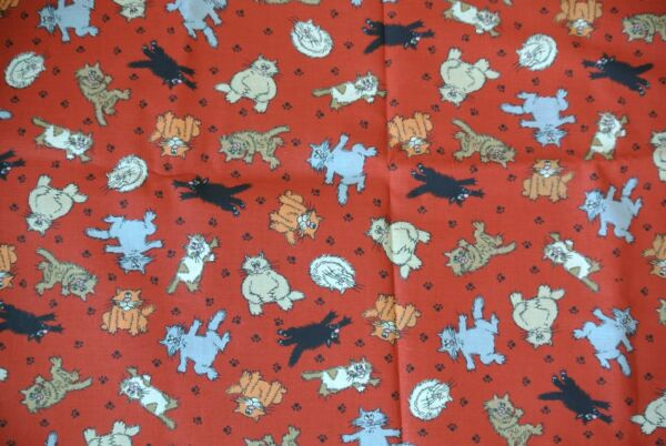 NEW Cats Kitties Prints 73quot; X 43quot; Red Material Signature Classics by Oakhurst $24.99