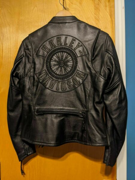 ⭐⭐WILLIE G  HARLEY DAVIDSON  BRAIDED WHEEL LEATHER RIDING JACKET SIZE W SMALL