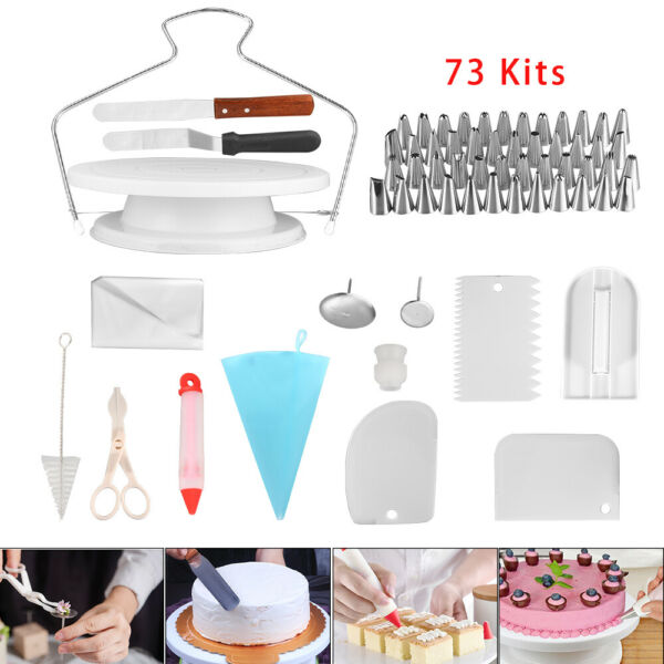 73 pcs Baking Supplies Kit DIY Cake Cupcake Decorating Icing tips Set Tools Fast
