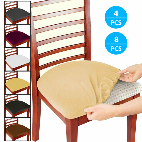 4 8Pcs Removable Elastic Stretch Slipcovers Dining Room Spandex Chair Seat Cover $8.97