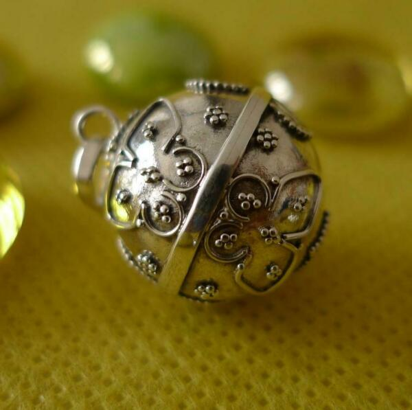 Mexican Bola Sterling Silver Harmony Ball Pendant SilverandSoul Jewellery 16mm