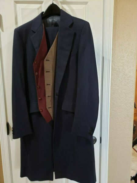 Men's Navy Show Seasons 3 piece Saddle Seat Suit ( label r miller) (gs suit 3)