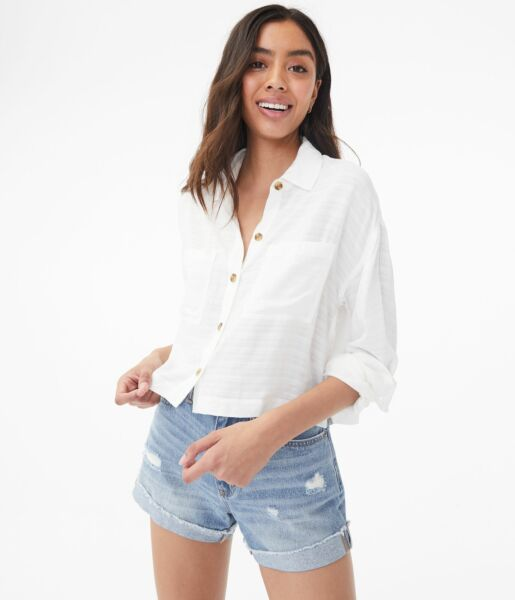 aeropostale womens long sleeve cropped button-down shirt $18.00