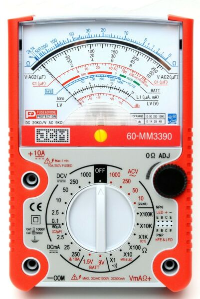 JCM MM3390 High X100K Scale Analog Multimeter w Capacitor and Transistor Check $35.00