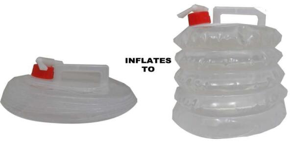 Expandable Water Jug Collapsible Dispenser Tote 5 Qt Emergency Survival Camp RV