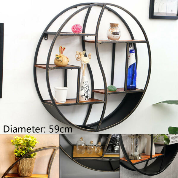 59*59CM Round Shelving Metal Wood Storage Bookcase Vintage Wall Mounting Rack