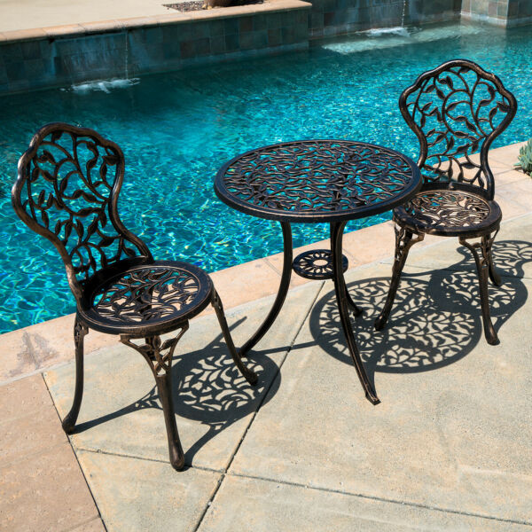 3PC Bistro Set in Antique Outdoor Patio Furniture Leaf Design Cast Aluminum NEW $119.99