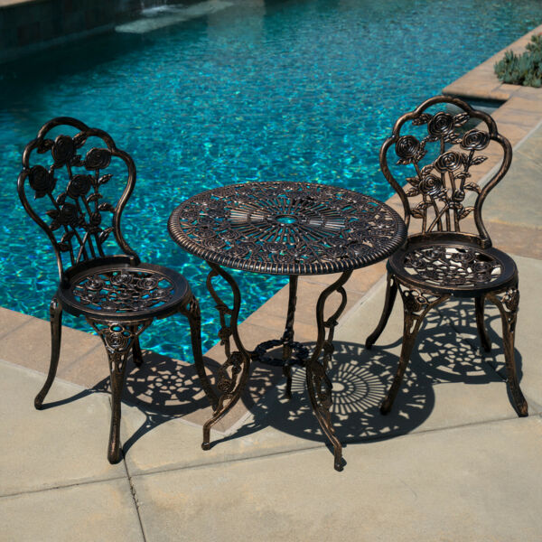 3pcs Outdoor Patio Furniture Cast Aluminum Bistro Set Table Antique BronzeWhite