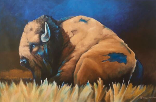 """Original Indian Western Art Buffalo Bison Oil Painting on CanvasSigned 25""""X 40"""""""