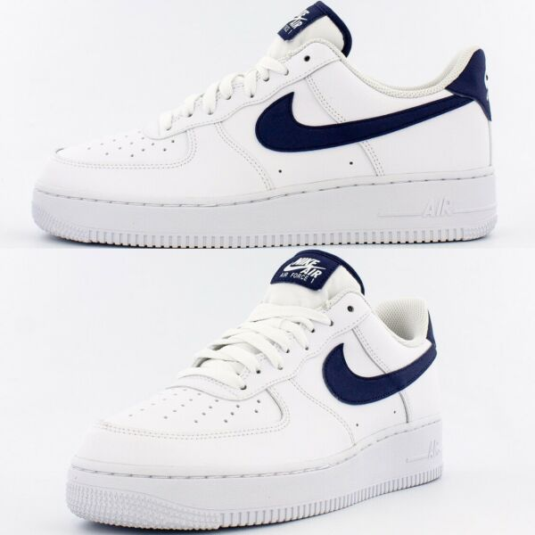 Nike Air Force 1 Low Sneakers Men's Lifestyle Comfy Shoes White/Midnight Navy