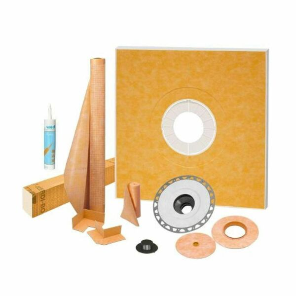 """Schluter Kerdi Shower Kit 38"""" x 38"""" with 2"""" PVC Flange Sealant and 4"""" Grate"""
