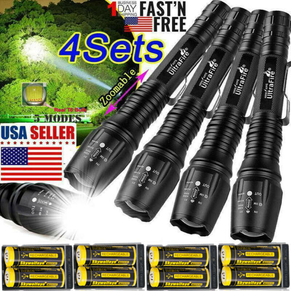 Zoomable Ultrafire Tactical 350000LM 5-Modes T6 LED Focus Flashlight Torch-