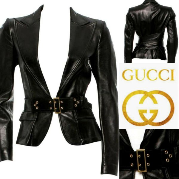 GUCCI TOM FORD Corset Belted Leather Jacket Gold Hardware Fully  Lined 8AU6US
