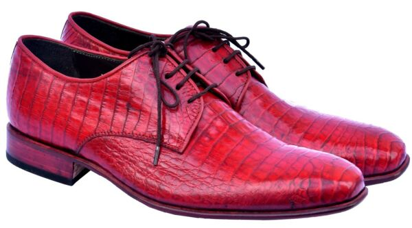 Professional Torch Red Premium Real Crocodile Leather Blucher Men Business Shoes