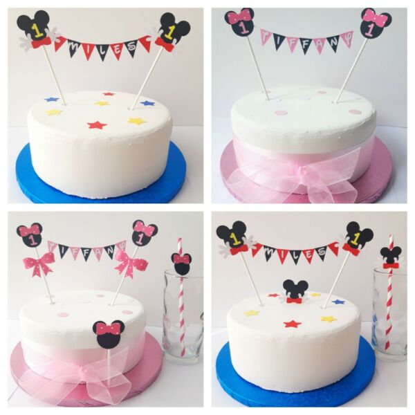 Personalised Bunting Cake Topper Minnie Mouse Mickey Mouse amp; Accessories