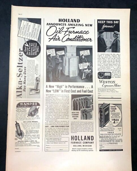 Life Magazine Ad HOLLAND FURNACE and AIR CONDITIONING amp; ALKA SELTZER 1937 AD $3.00
