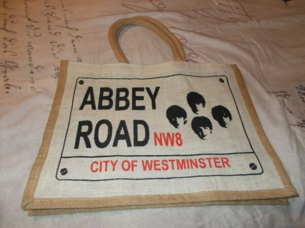 BEATLES ABBEY ROAD CITY OF WESTMINSTER BURLAP TOTE CARRY ALL BAG PURSE