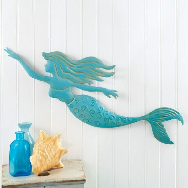 Blue Mermaid Metal Large Wall Decor.Beautifully detailed To Upscale your walls $29.99