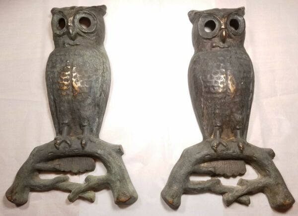 Antique cast bronze Owl Andirons Peck Stowe Wilcox no legs eyes patina decor