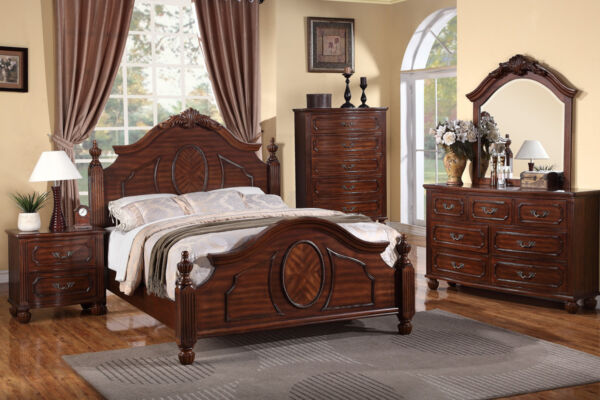 Bedframe Covered In Natural Cherry Wood Finish Cal King Size Bed 4Pc Bedroom Set