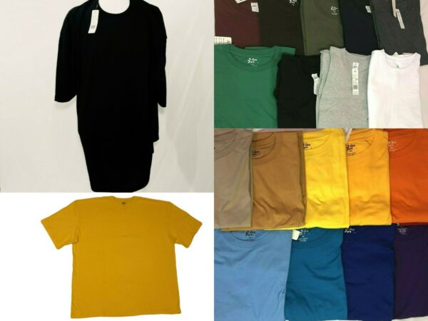 tshirt BIG TALL Shirts Plain Solid Crew Neck Shirts Short Sleeve tees SM 10X $10.62