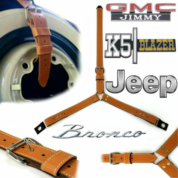 3 Point Spare Tire Strap Adjustable FJ CJ CJ7 CJ5 K5 Jimmy Bronco Off Road 4wd