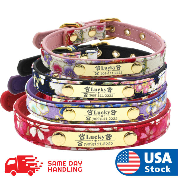 Personalized Leather small Dog Collar with Custom Name tag Name engraved ID Tag $8.68