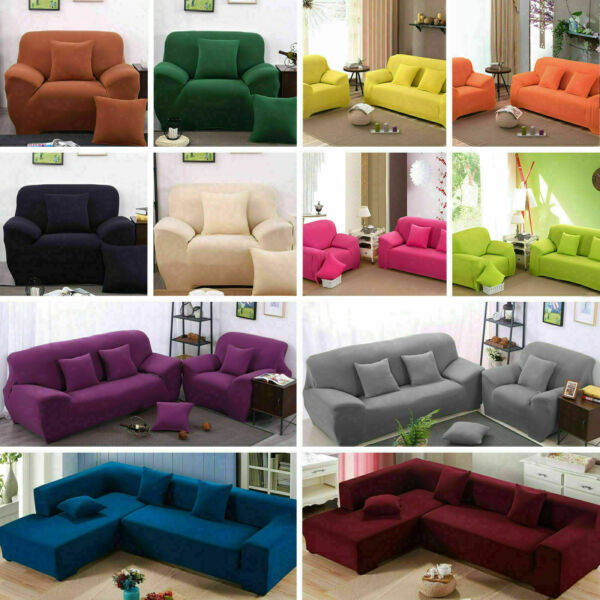 1 2 3 4 Seater Stretch Chair Sofa Cover Slipcover Couch Covers Elastic US STOCK $29.50