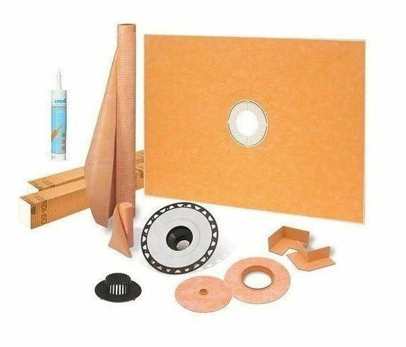 """Kerdi Schluter Shower Kit 38"""" x 60"""" with 2"""" ABS Flange Sealant and 4"""" Grate"""