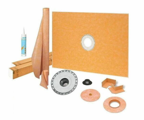 """Kerdi Schluter Shower Kit 38"""" x 60"""" with 2"""" PVC Flange Sealant and 4"""" Grate"""