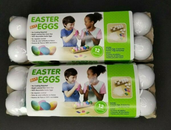 2 DIY 12 Count Decorating Easter Eggs Cartons Plastic Vegan with Non Toxic Dye