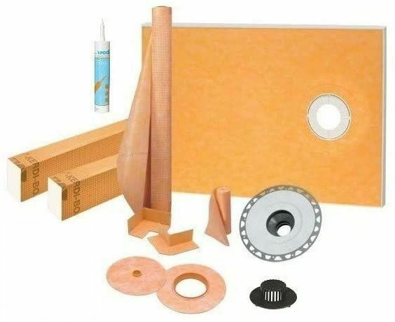 """Kerdi Schluter Shower Kit 38"""" x 60"""" Off with 2"""" PVC FlangeSealant and 4"""" Grate"""