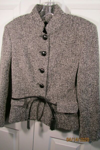 Gennyway Tweed Jacket 6 (40) Black and white 5 buttons leather belt lined
