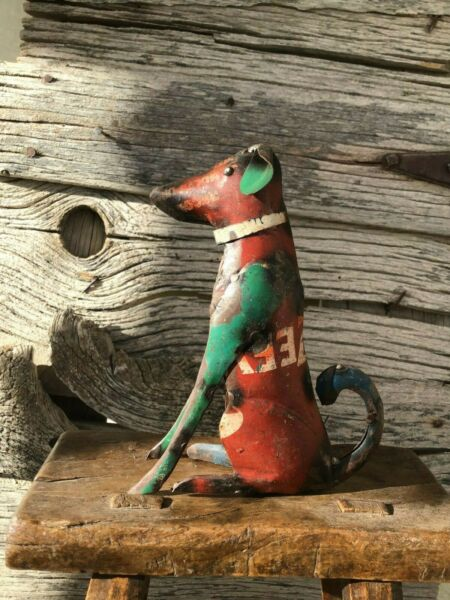 Repurposed Scrap Metal Dog Small 7quot; Tall Garden Decor Rustic Red Pet $21.95