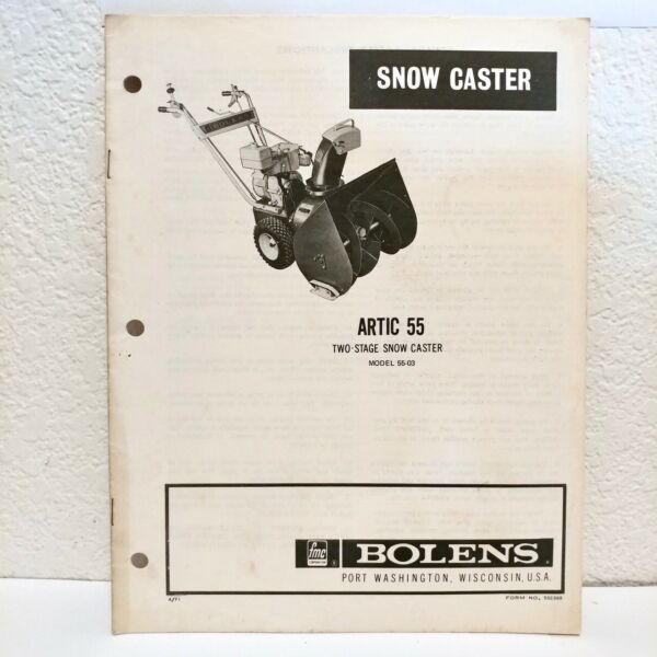 BOLENS SNOW THROWER Caster Operation Instruction Manual Model Artic 55