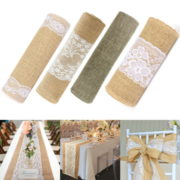 Natural Rustic Burlap Hessian Lace Table Runner Wedding Banquet Party Decoration