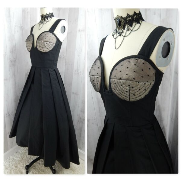 1980s Vintage Corset DRESS Black Goth Punk Steampunk Costume Theater Cosplay S M