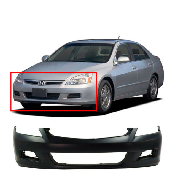 Primed Front Bumper Cover for 2006 2007 Honda Accord Sedan EX LX SE Hybrid