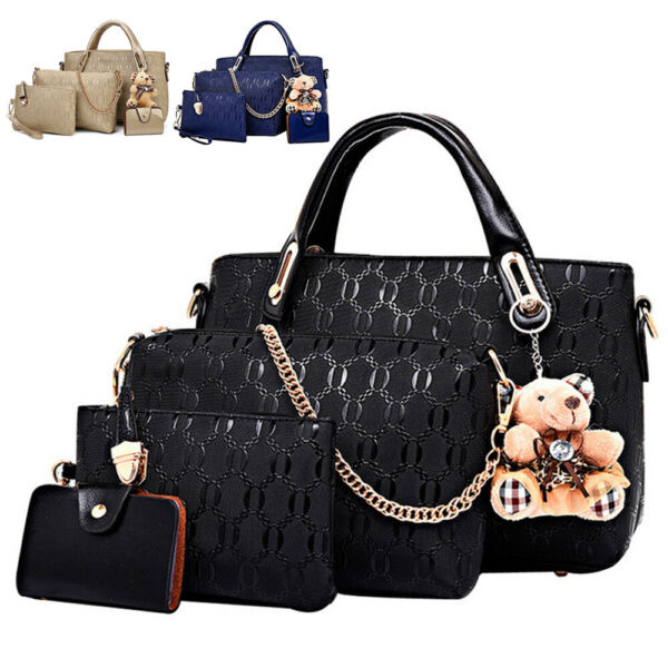 4pcs set Women Ladies Leather Handbag Shoulder Tote Purse Satchel Messenger Bag