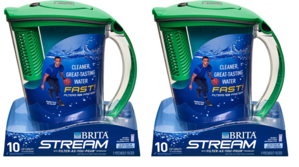 Brita 10 Cup Stream Filter As You Pour Water Pitcher 1 Filter BPA Free 2 pack