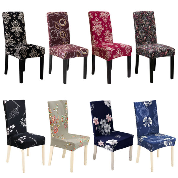 1 4 6Pcs Spandex Stretch Dining Chair Covers Printed Seat Slipcovers Home Decor $21.98