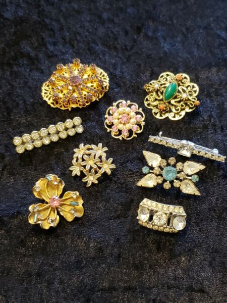 RHINESTONE MIXED LOT Vintage Brooch Pins LOT 9