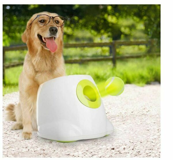 Interactive Automatic Ball Launcher Dog Toy Tennis Ball Throwing Machine +3balls