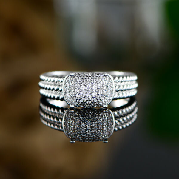 Sevil 18K White Gold Plated Twisted Band Ring Made With Swarovski Elements $12.99