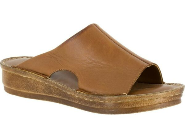 Bella Vita Bella Vita Women#x27;s Mae Italy Slide Sandal Size 9.5 M Tan Leather
